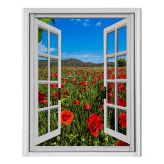 Poppy Field Faux Artificial Window View Poster