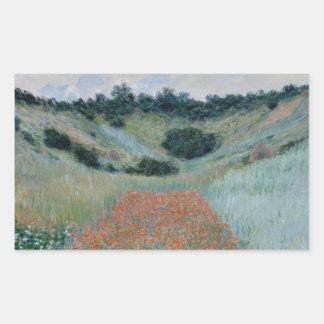 Poppy Field in a Hollow Near Giverny by Monet Rectangular Sticker