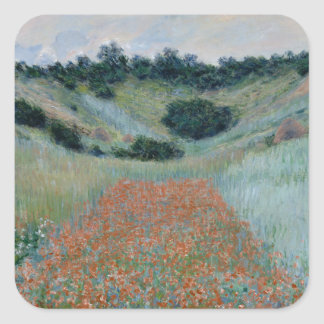 Poppy Field in a Hollow Near Giverny by Monet Stickers