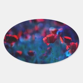 Poppy field in blue oval sticker
