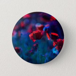 Poppy field in blue pinback button