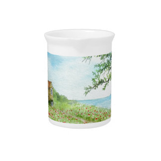 Poppy Field Landscape Watercolor Painting Beverage Pitcher