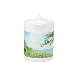 Poppy Field Landscape Watercolor Painting Teapot