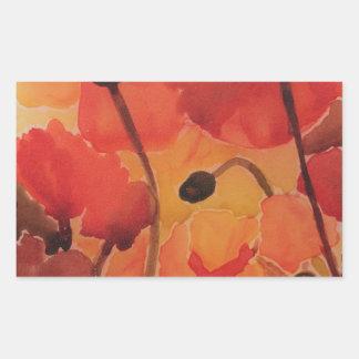 Poppy field rectangular sticker