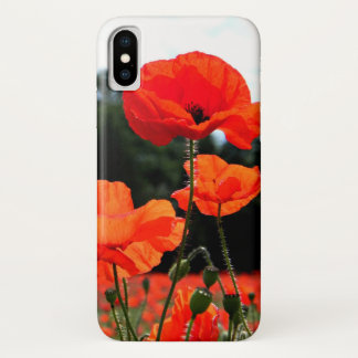Poppy Field, Red Poppies in Bloom iPhone X Case