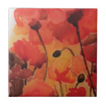Poppy field small square tile