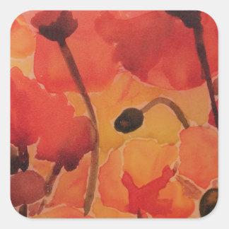 Poppy field square sticker