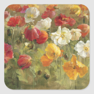 Poppy Field Square Stickers