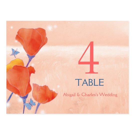 Poppy Field Wedding Table Numbers Postcard