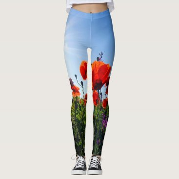 USA Themed Poppy Field Wildflowers Leggins Leggings