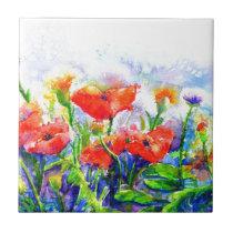 Poppy fields ceramic tile