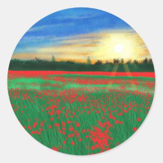 Poppy fields classic round sticker
