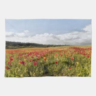 Poppy Fields floral kitchen tea towel