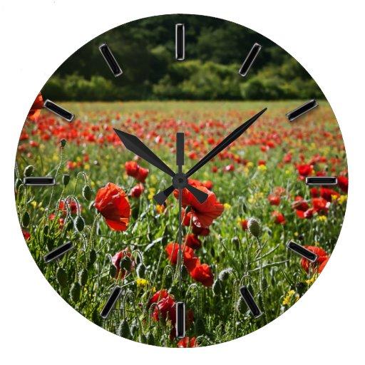 Poppy Fields floral wall clock