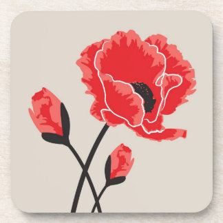 Poppy Floral Drinking Coasters - Set of 6
