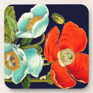 Poppy Floral Flowers Botanical Cork Coaster