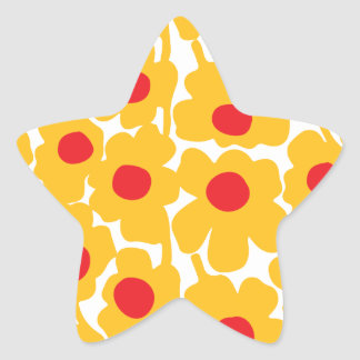 Poppy Floral Pattern Star Sticker