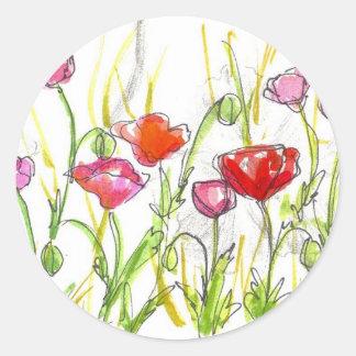 Poppy Flower Fields Summer Wildflower Painting Classic Round Sticker