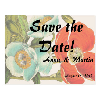 Poppy Flower Floral Save the Date Postcards