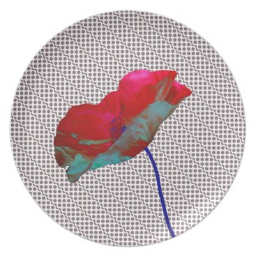 Beach Themed Poppy flower on dark grey white melamine plate