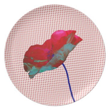Beach Themed Poppy flower on pink white melamine plate