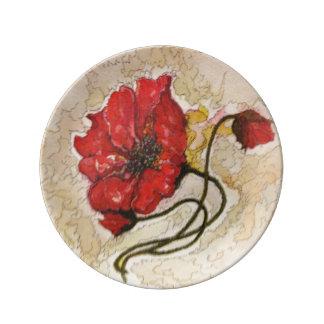 Poppy Flower – Porcelain Plate