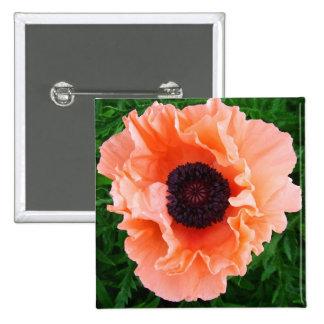 Poppy Flower Square Pin
