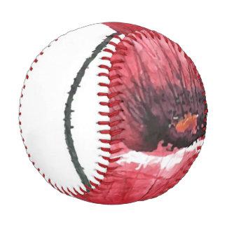 Poppy flower, watercolor baseball
