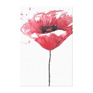 Poppy flower, watercolor canvas print