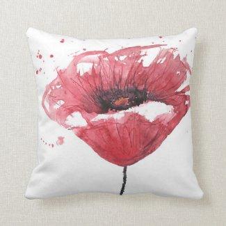 Poppy flower, watercolor pillow