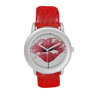 Poppy flower, watercolor wrist watch