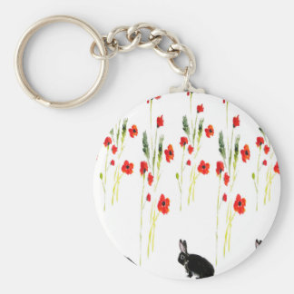 Poppy Flowers and a cute bunny rabbit Keychain