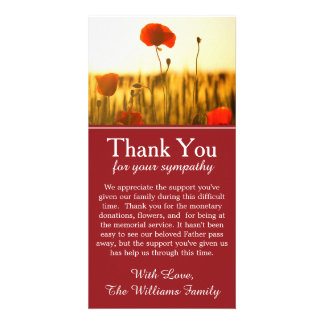 Poppy Flowers Bereavement Memorial Thank You Card Photo Card