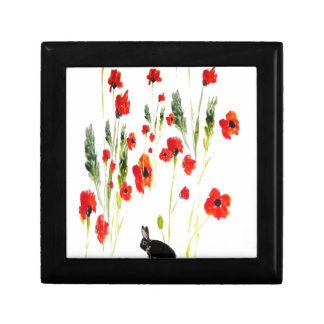 Poppy Flowers Bunny Rabbit Art Gift Box