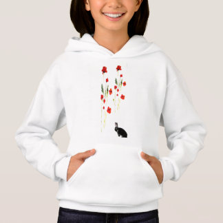 Poppy Flowers Bunny Rabbit Art Hoodie
