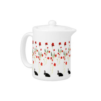 Poppy Flowers Bunny Rabbit Art Teapot