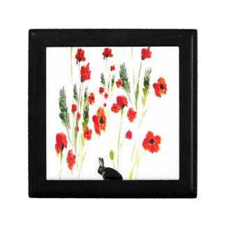 Poppy Flowers Bunny Rabbit Art Trinket Box