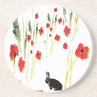 Poppy Flowers Bunny Rabbit Coaster