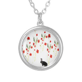 Poppy Flowers Bunny Rabbit Silver Plated Necklace