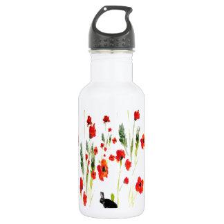 Poppy Flowers Bunny Rabbit Stainless Steel Water Bottle