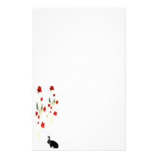Poppy Flowers Bunny Rabbit Stationery