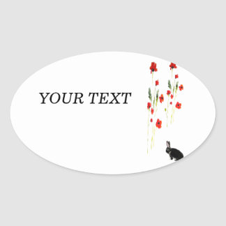 Poppy Flowers Bunny Rabbit Oval Sticker