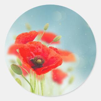 Poppy flowers classic round sticker