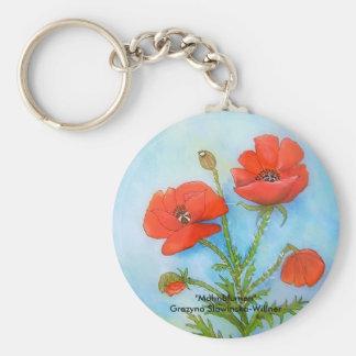Poppy flowers key chains