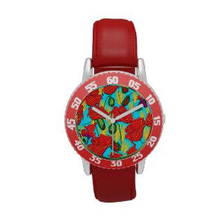 Poppy flowers of children clock wristwatch