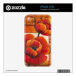 Poppy Flowers on Tan and Orange Background Decals For The iPhone 4
