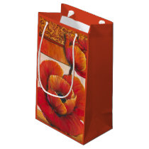 Poppy Flowers on Tan and Orange Background Small Gift Bag