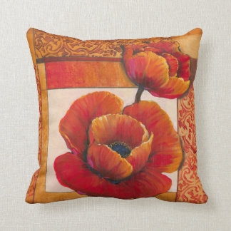 Poppy Flowers on Tan and Orange Background Throw Pillow