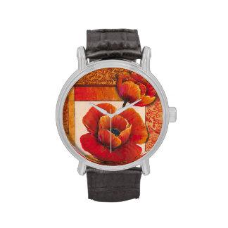 Poppy Flowers on Tan and Orange Background Wrist Watch