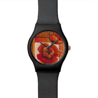 Poppy Flowers on Tan and Orange Background Watch